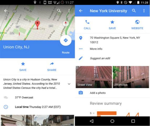 Google Maps για Android, φέρνει πληροφορίες για τους προορισμούς
